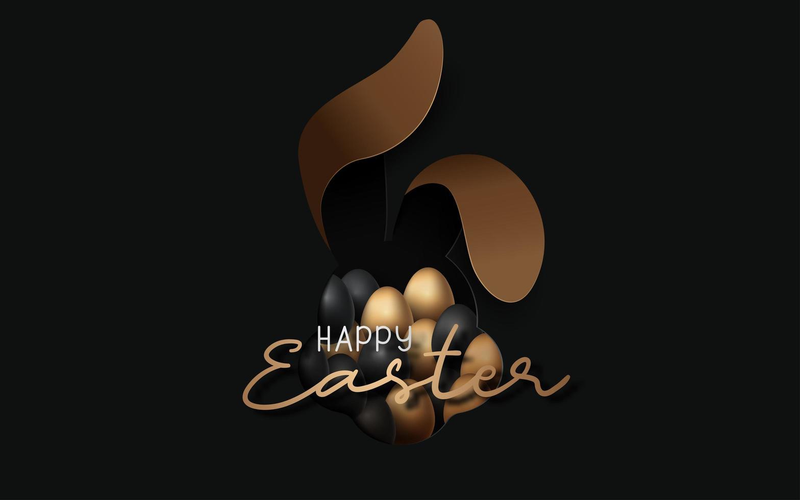 fundo de feliz páscoa com ovos realistas e orelhas de coelho vetor