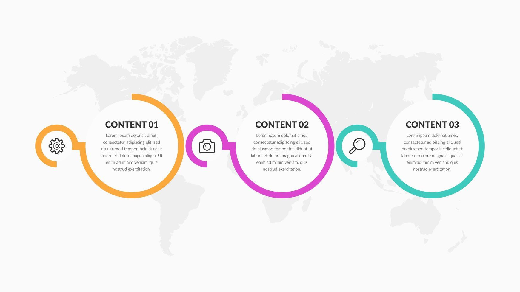 elementos de infográfico de negócios redondo colorido com ícones vetor