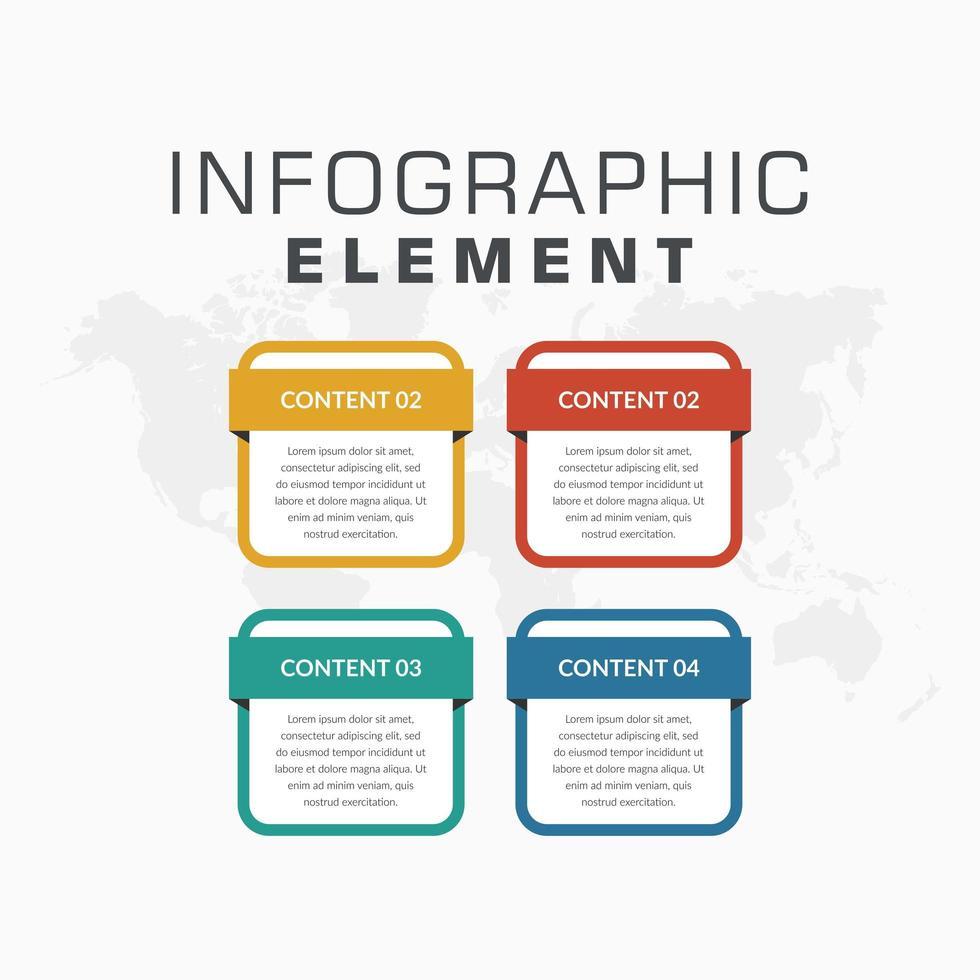 Modelo de infográfico colorido de 4 elementos para estratégia de negócios vetor