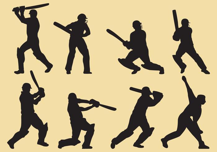 Silhuetas do jogador de cricket vetor