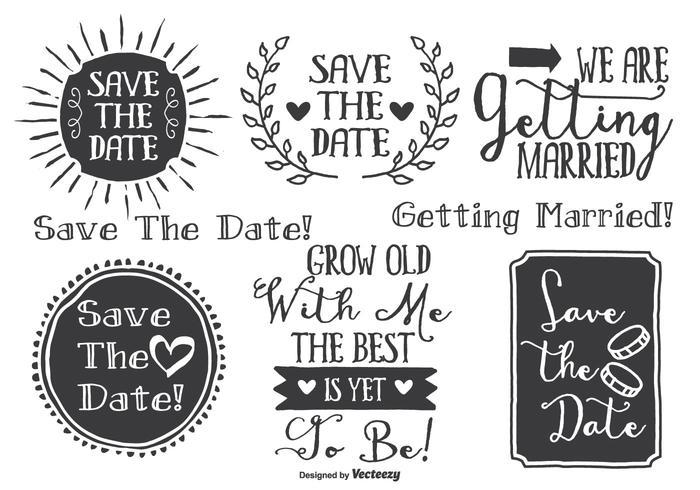 Conjunto de etiquetas de casamento com estilo desenhado à mão vetor