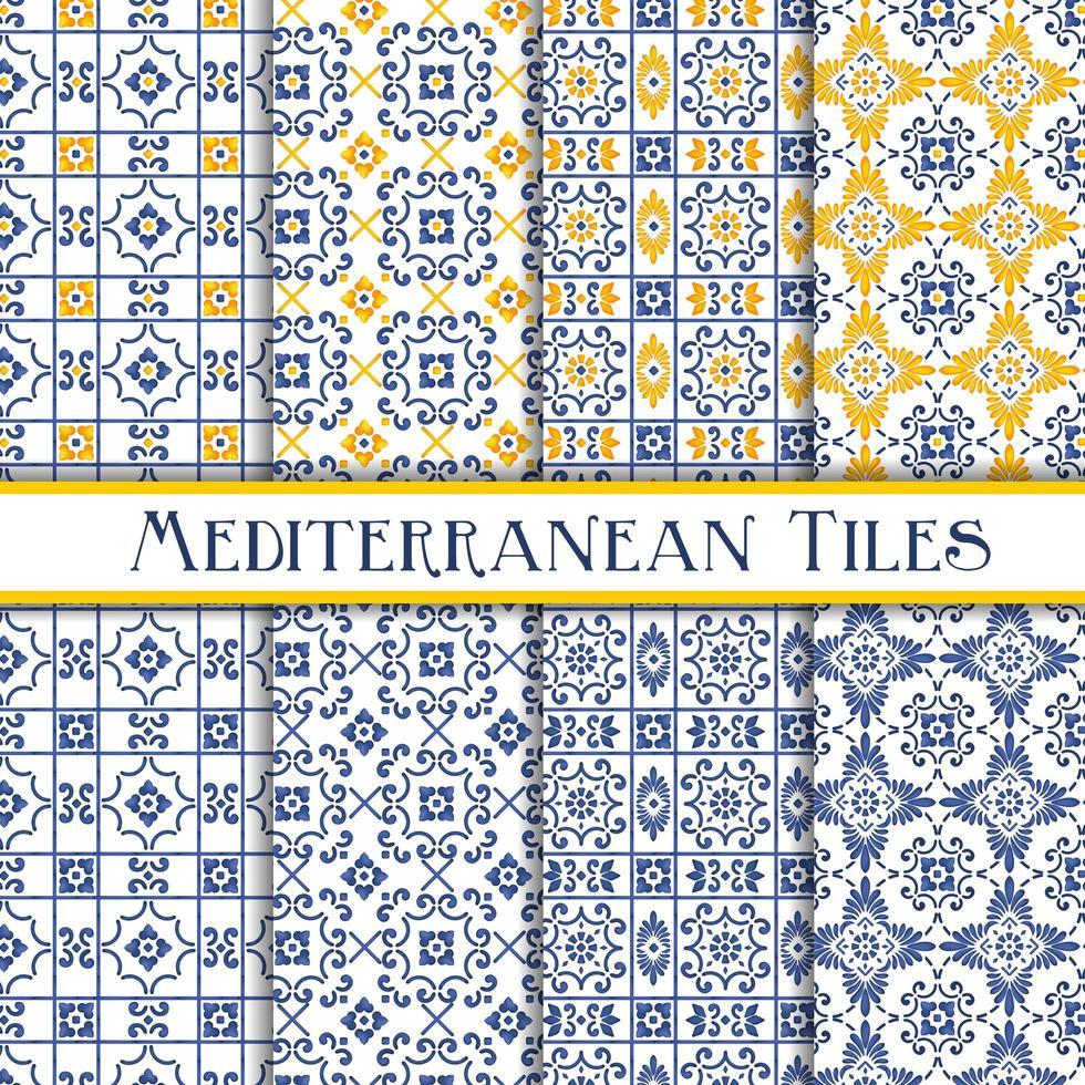 azulejos azuis e amarelos do estilo mediterrâneo vetor
