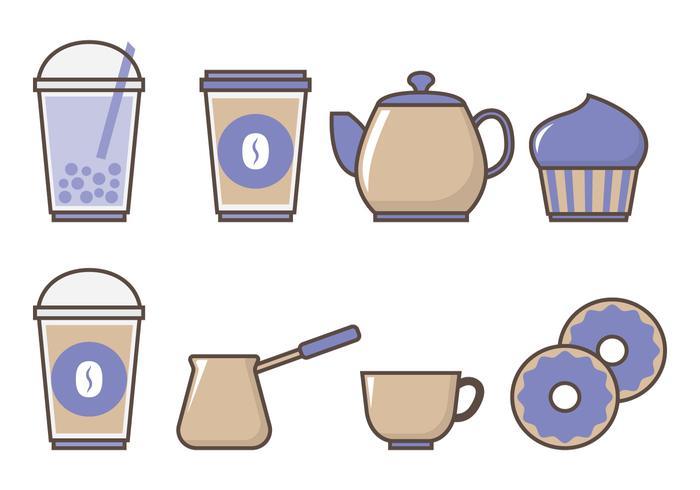 Chá de bolha e bebidas vetor