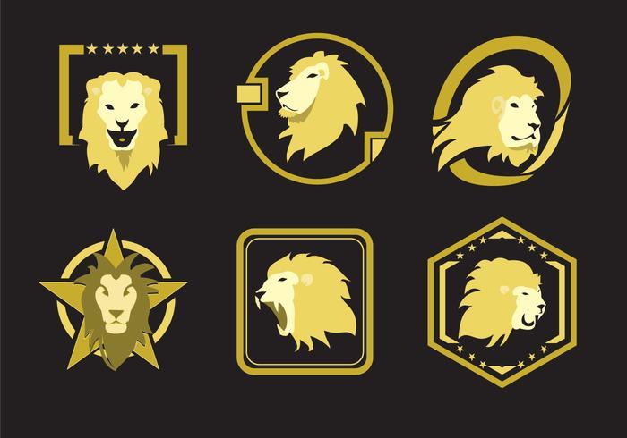 Emblemas de cabeça de leão vetor