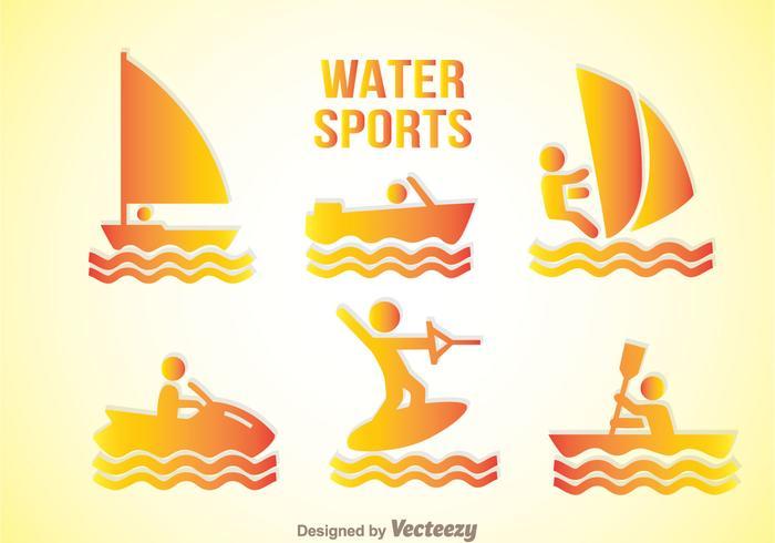 Ícones de gradação de esportes aquáticos vetor