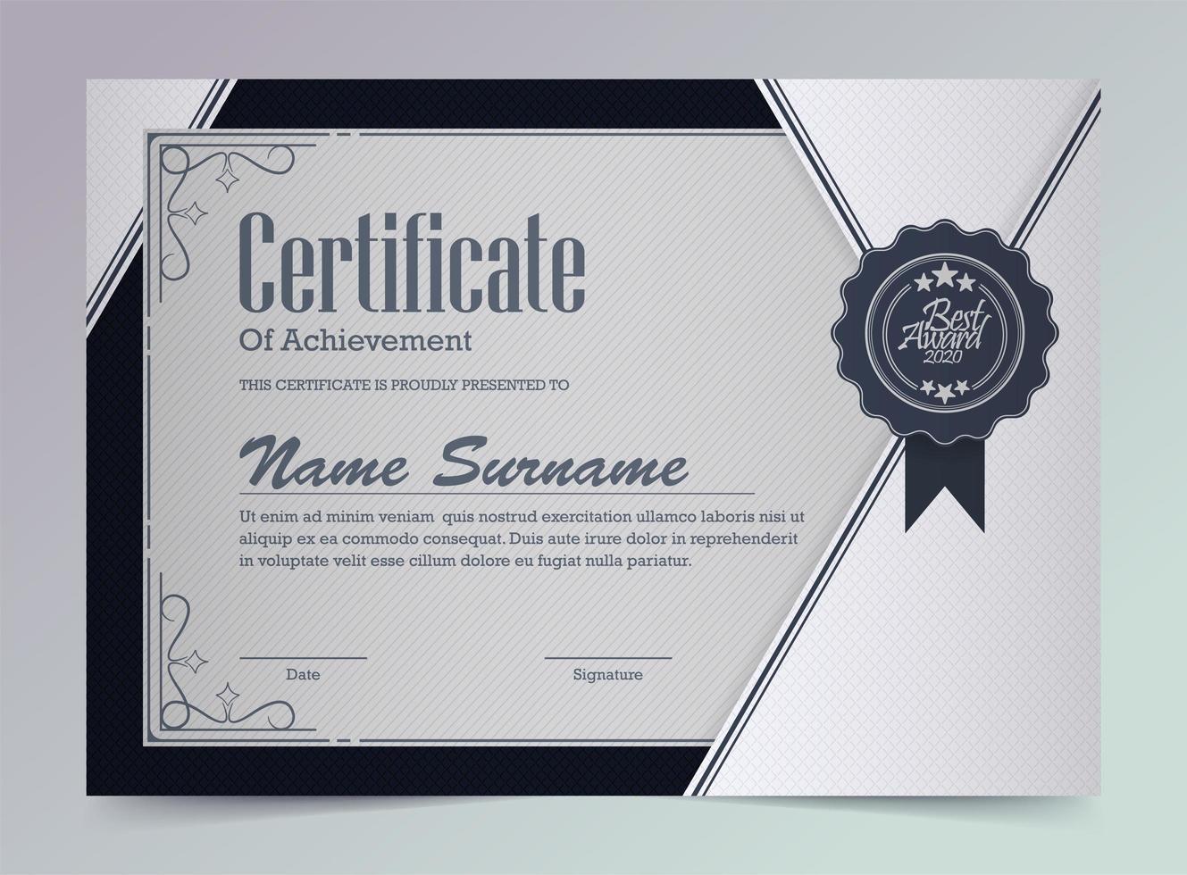 modelo de certificado de conquista de design de ângulo de prata vetor