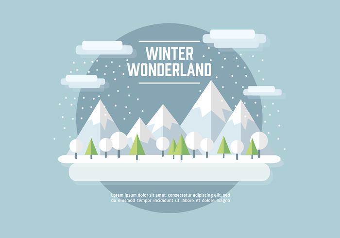 Fundo plano do vetor de paisagem de inverno