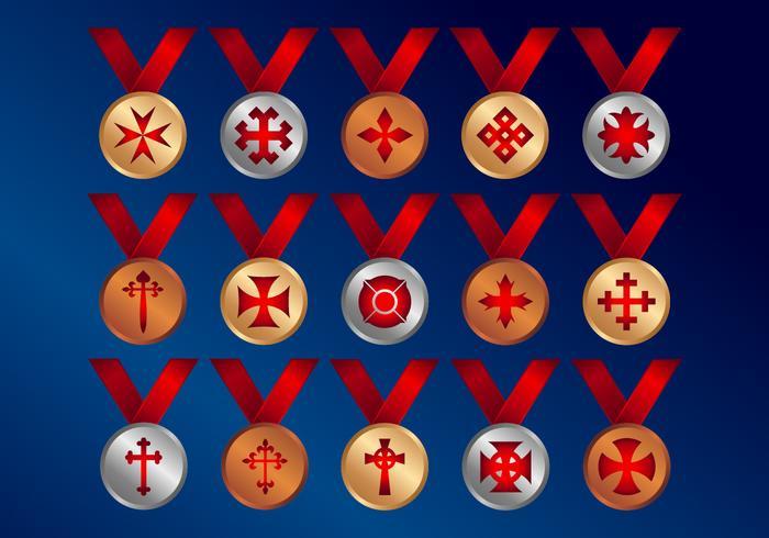 Cruza ícones vetoriais de Medalhas vetor