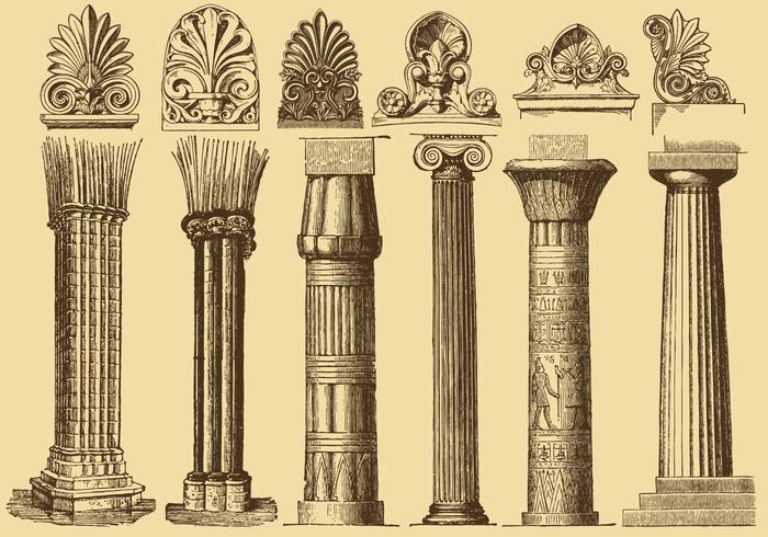 Colunas de desenho de estilo antigo vetor