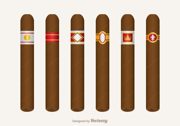 Conjunto de vetores de etiqueta de cigarro grátis