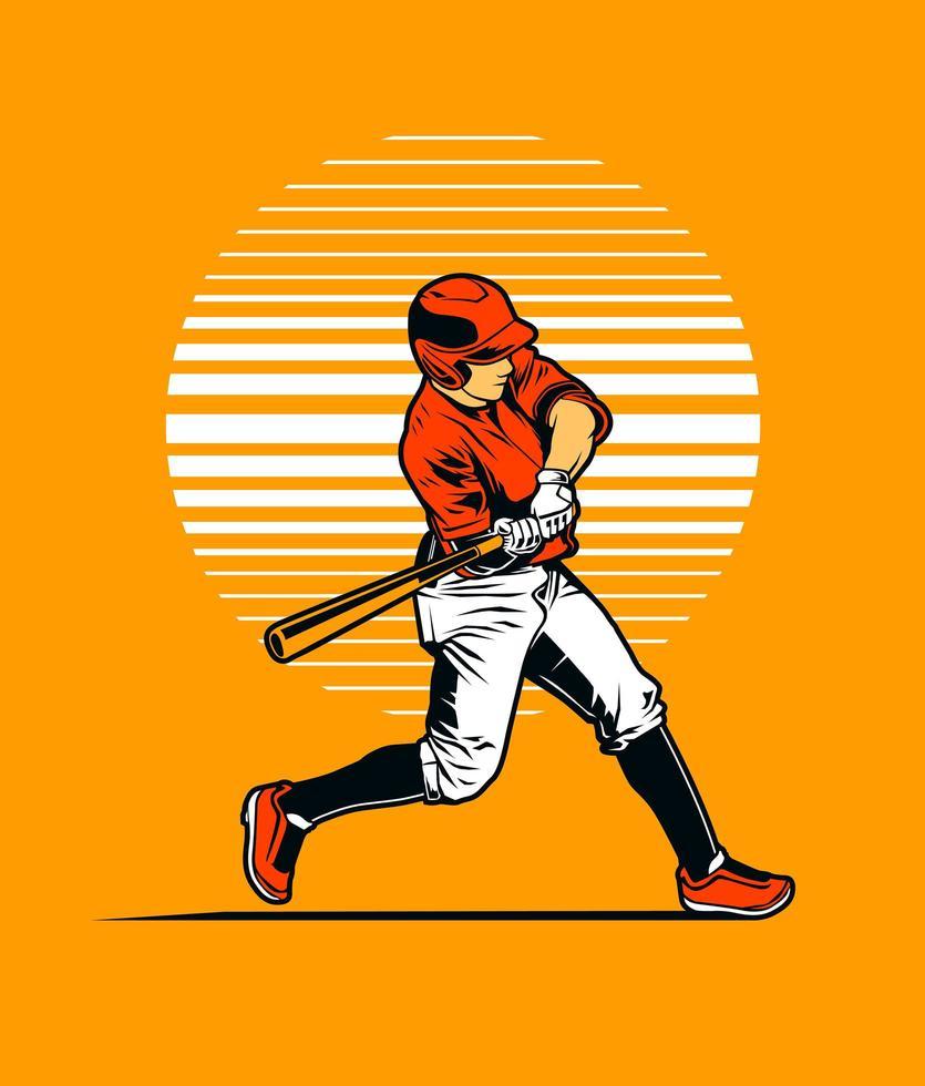 jogador de beisebol balançando taco na laranja vetor
