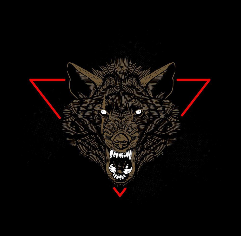 sorrindo cabeça de lobo na frente do triângulo vermelho vetor