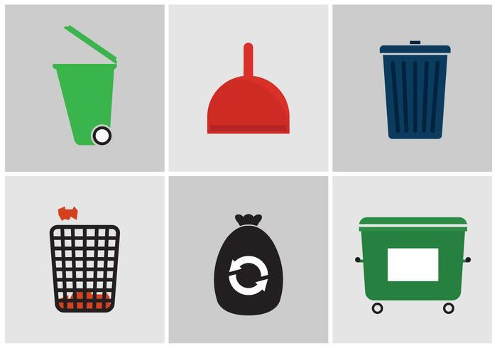 Ícones do vetor de lixo