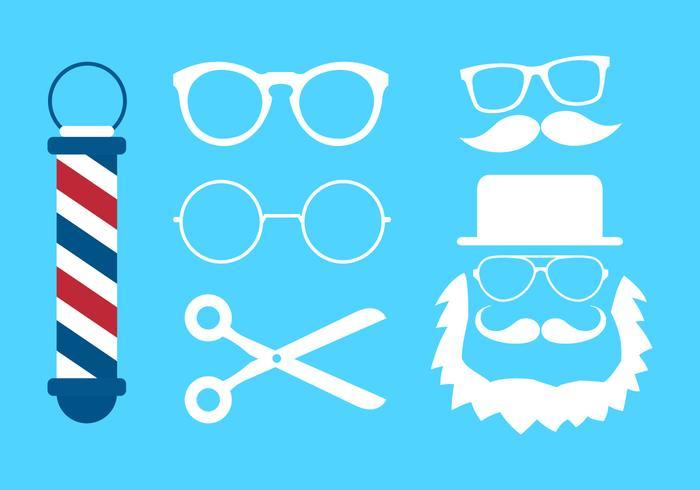 Coleção de vetores de óculos e ícones de barbeiro