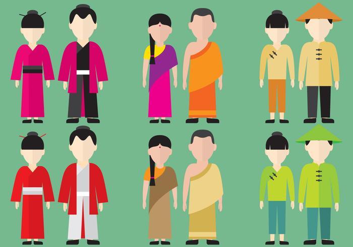 Personagens asiáticos vetor
