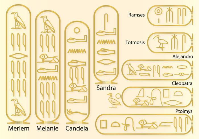 Nomes em hieróglifos vetor