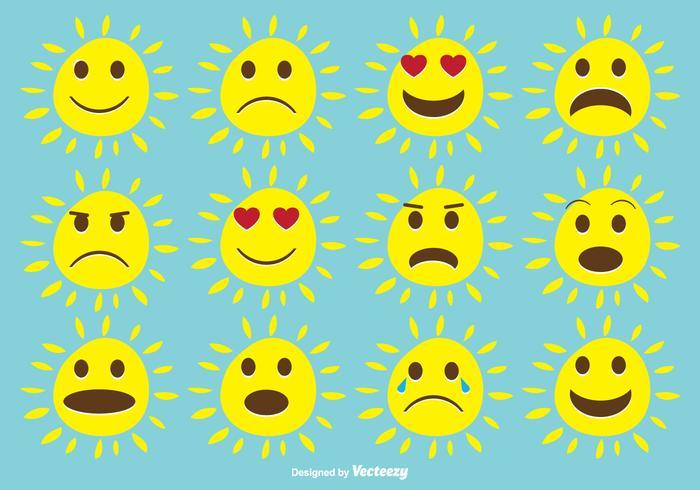 Bonito conjunto expressivo de sol vetor