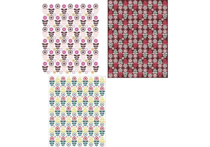 Papel de parede com papel de parede floral tri-pack vetor