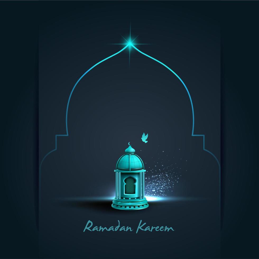 lanterna azul do ramadan do neop vetor