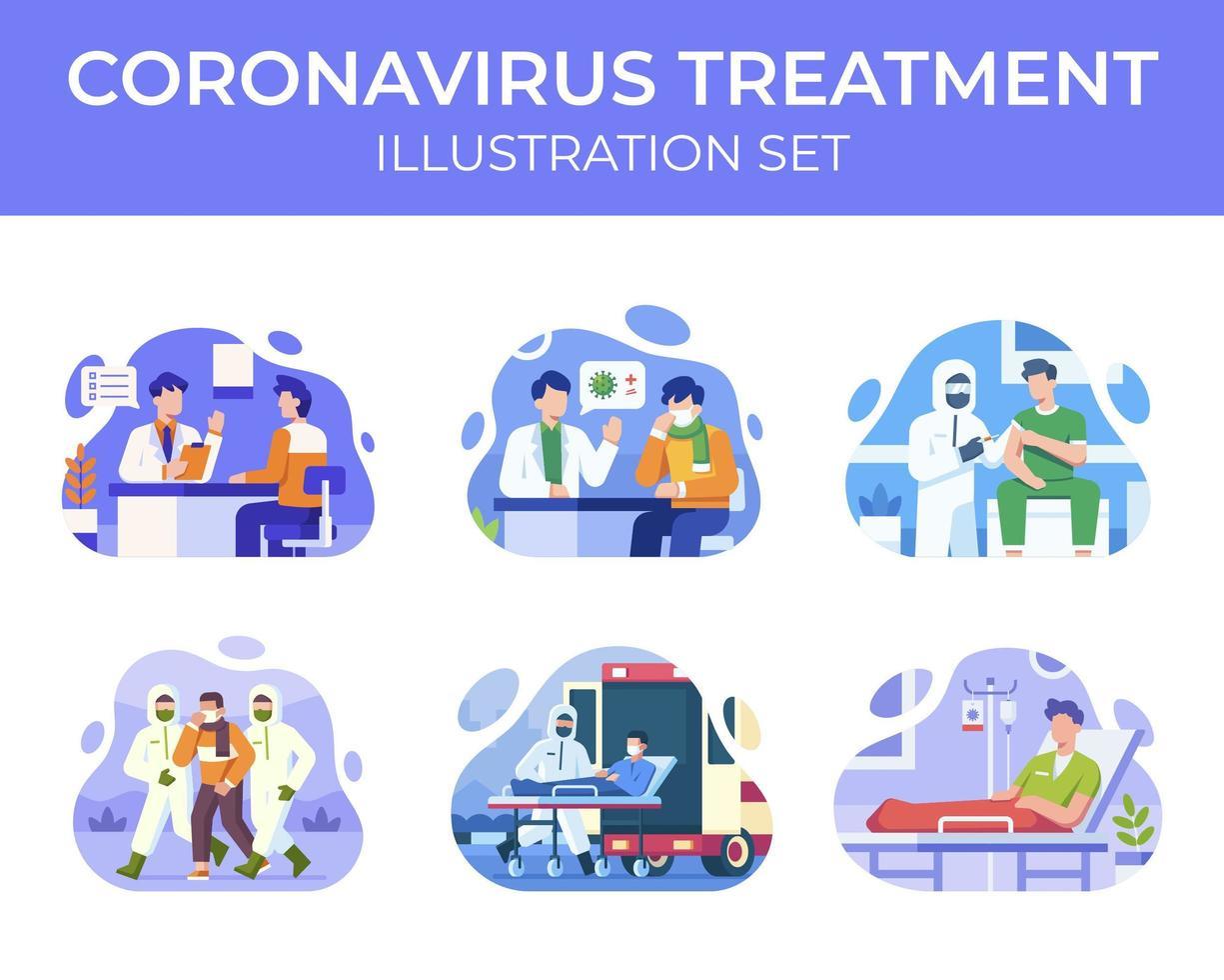 conjunto de cena de tratamento de coronavírus vetor