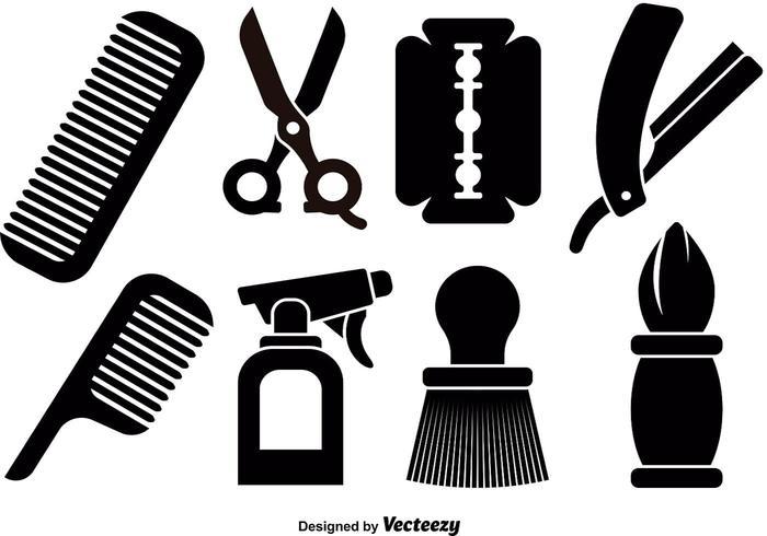 Ícones de ferramentas de barbeiro vetor