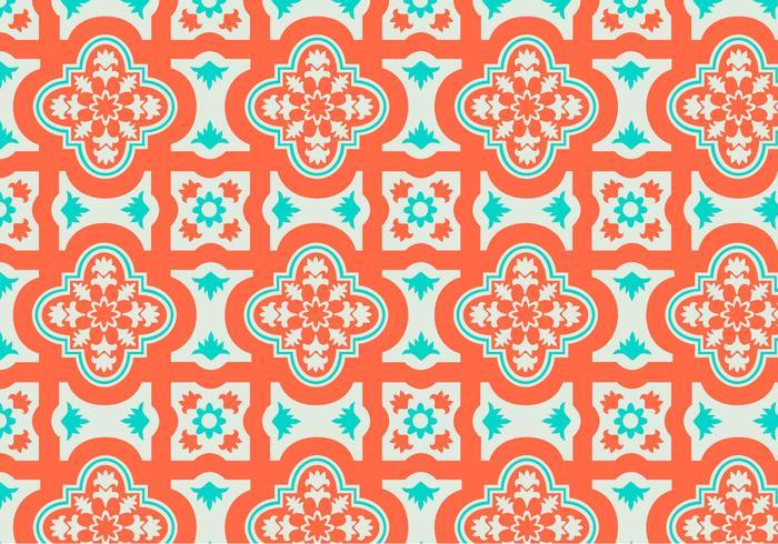 Vetor de fundo de padrão marroquino de laranja e cerceta