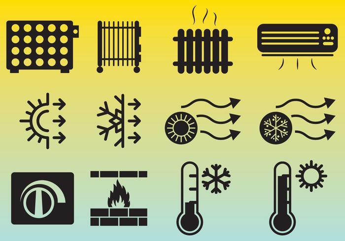 Ícone de ícones de aquecimento vetor