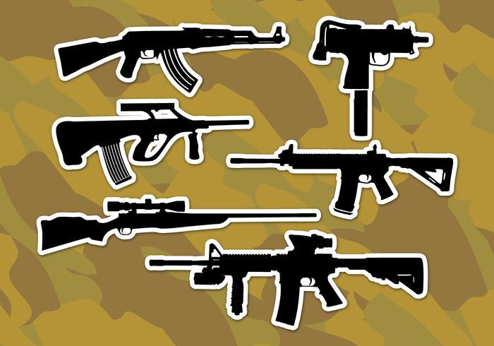 Ar15 rifles ícones vetoriais vetor