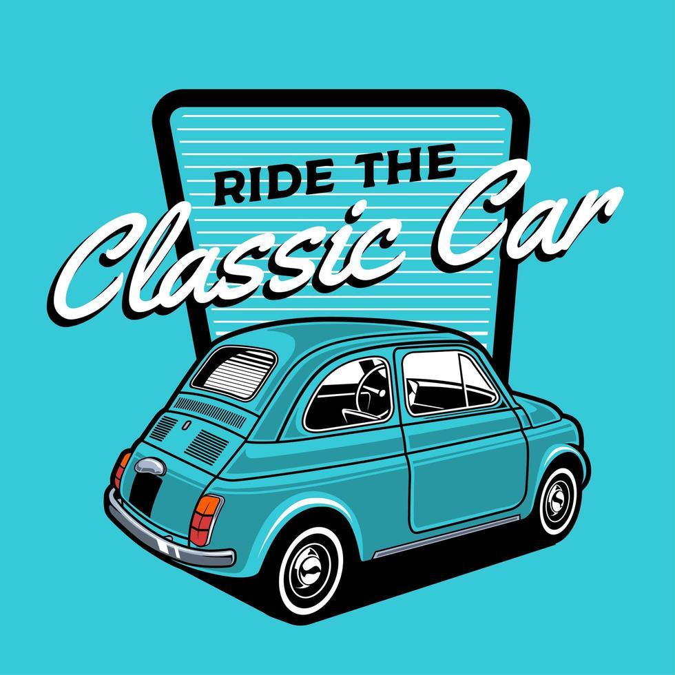 design de carro clássico azul pequeno vetor