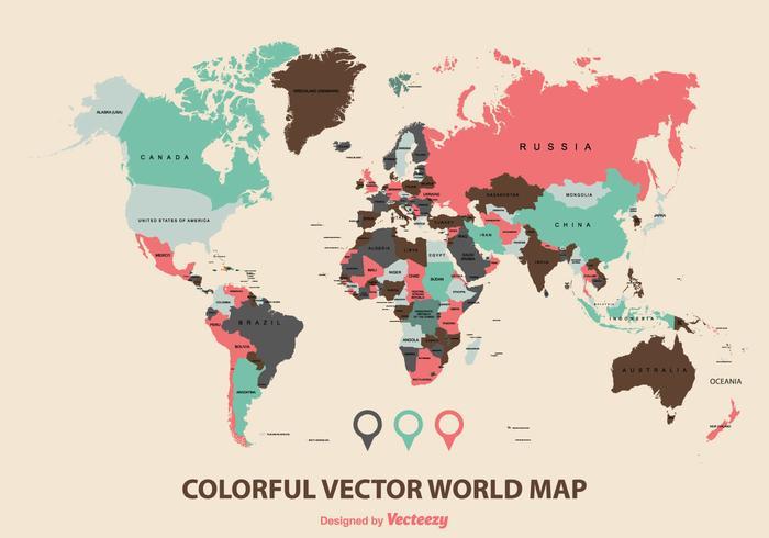 Vector colorido do mapa mundial