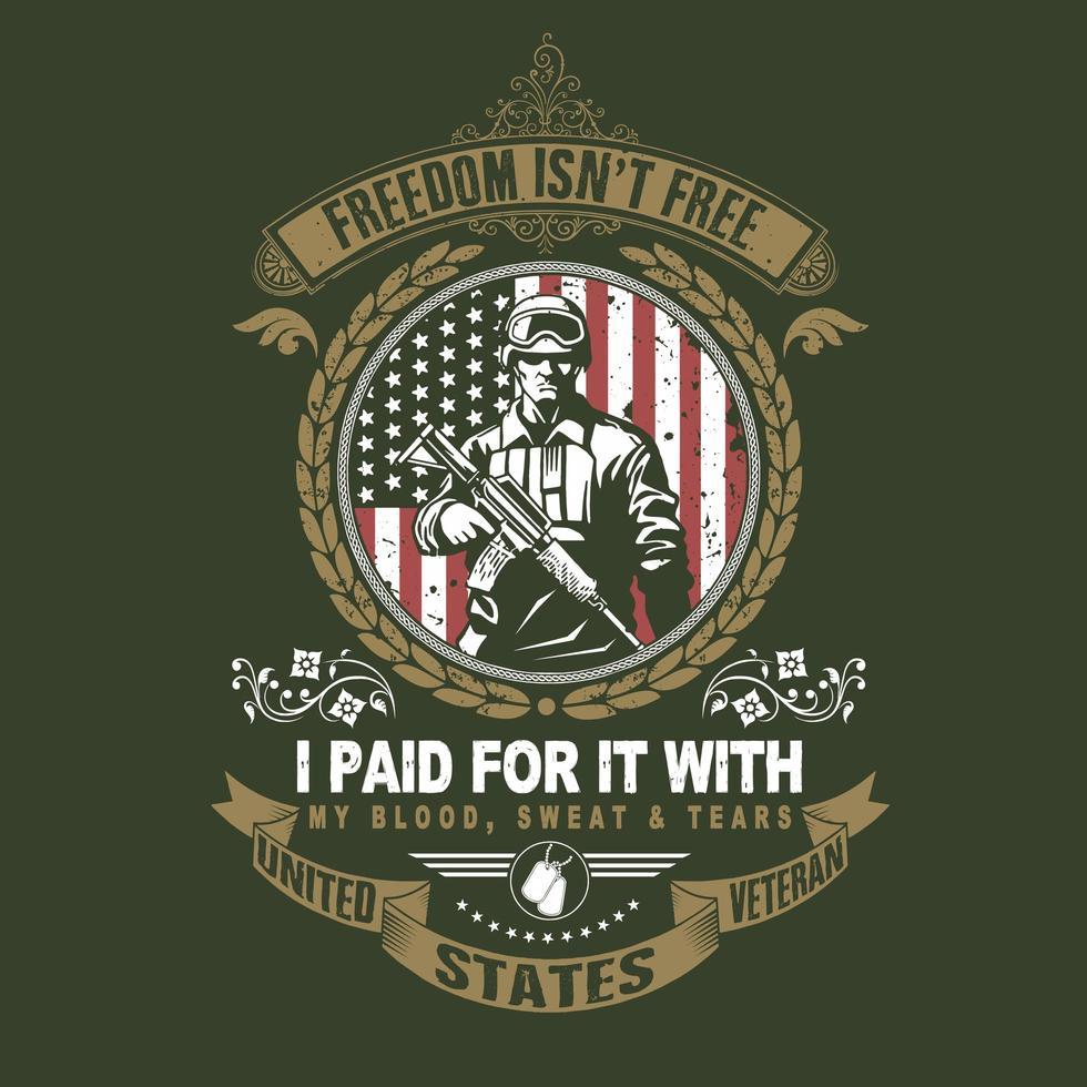 emblema do veterano dos EUA com soldado vetor
