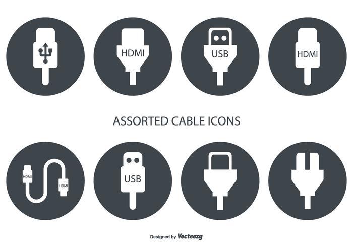 Assorted HDMI e ícones de vetores de cabo USB