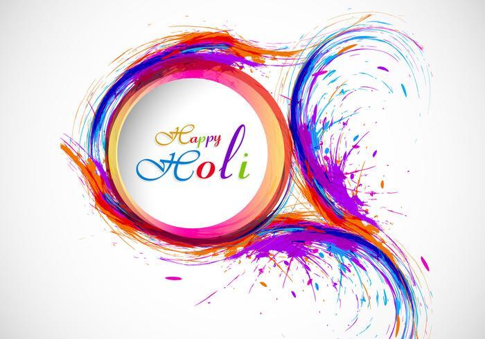 Splash of holi color no cartão vetor