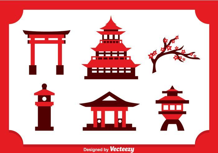 Vector de ícones de castelo japonês