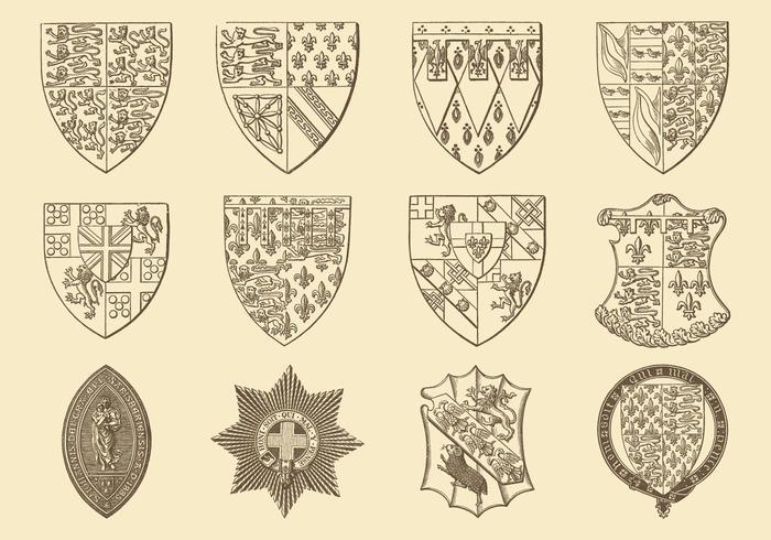 Desenho de estilo antigo vetores heráldicos e emblemas