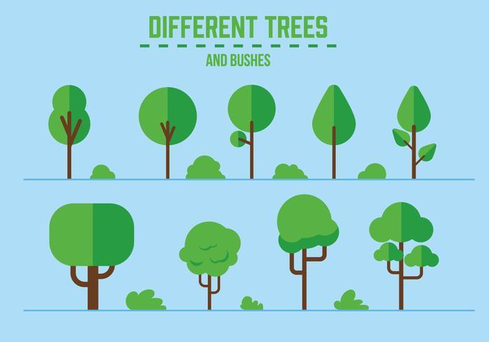 Árvores e arbustos de vetores grátis
