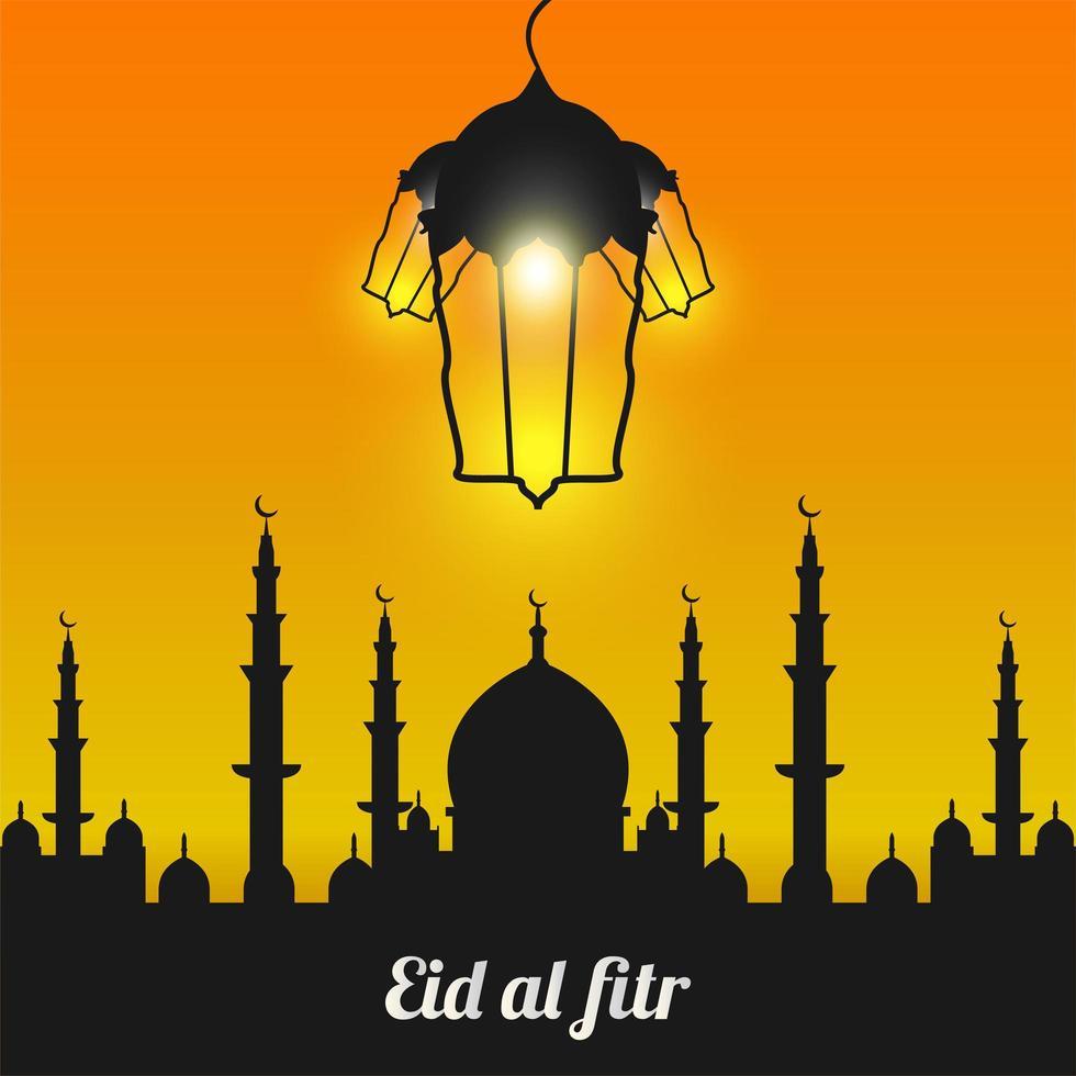 eid al-fitr com silhueta de mesquita negra vetor