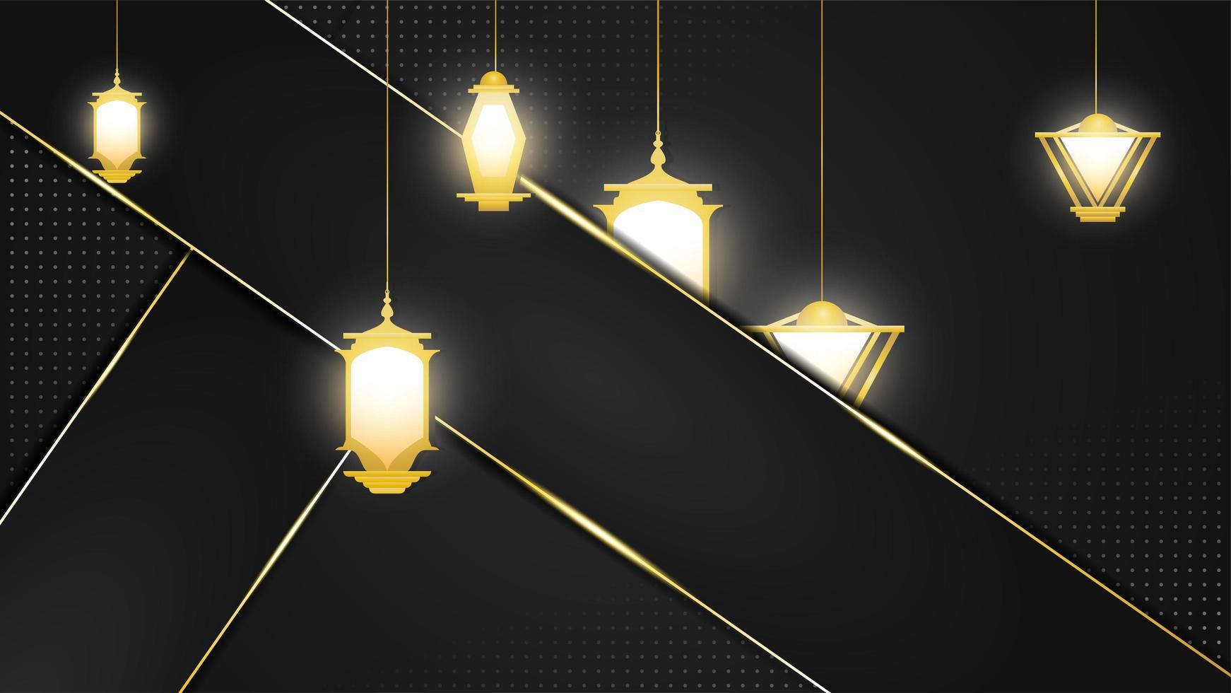 fundo preto e dourado com camadas e lanternas árabes vetor