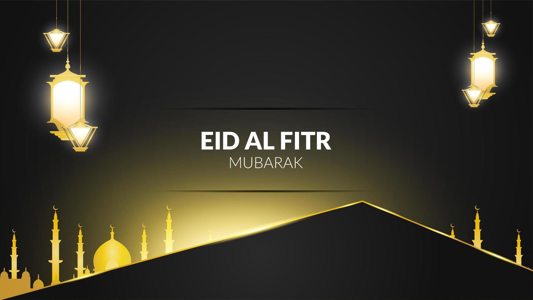 eid al-fitr lanternas em preto e dourado vetor