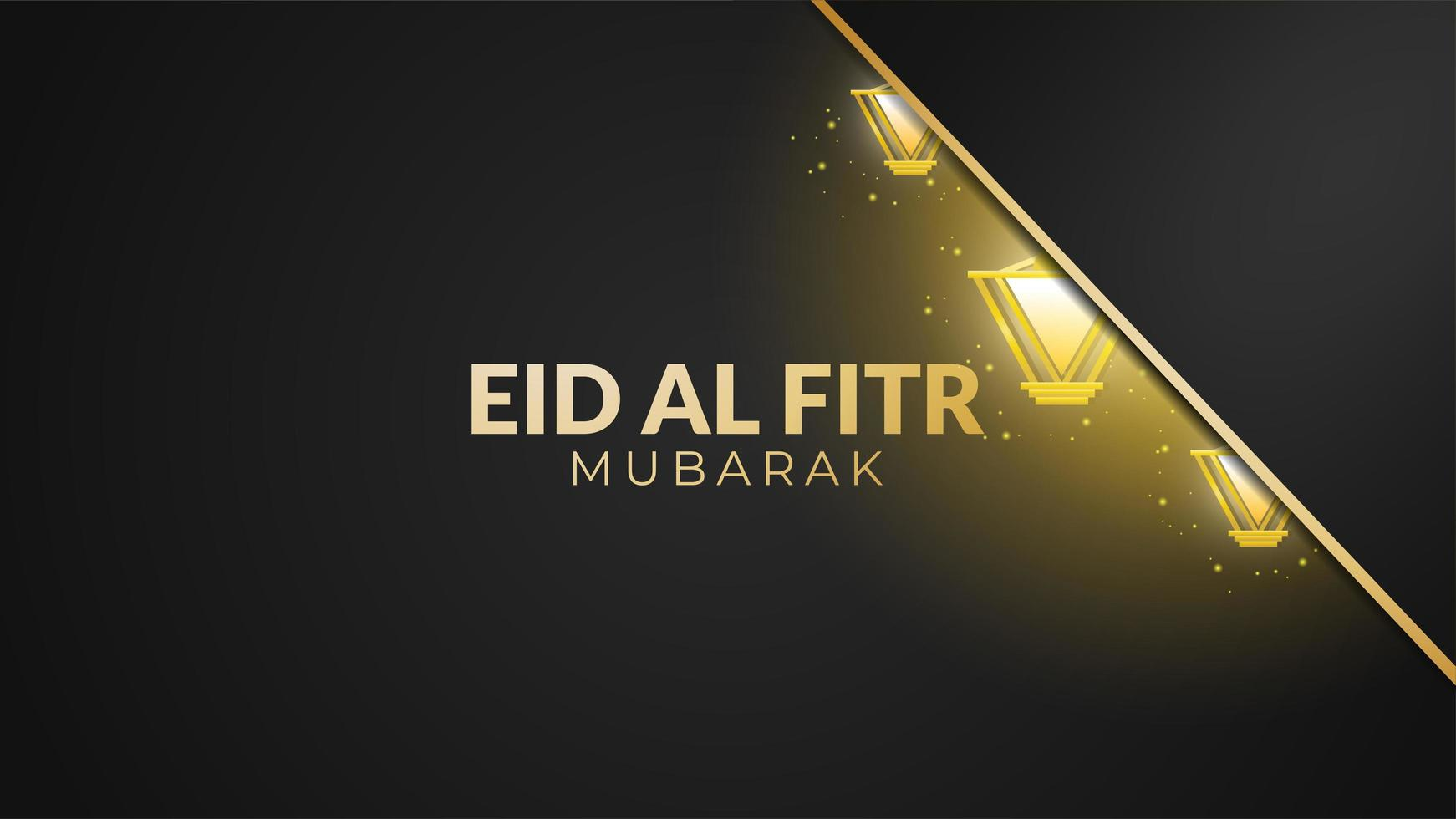 lanternas brilhantes eid al-fitr pretas e douradas vetor