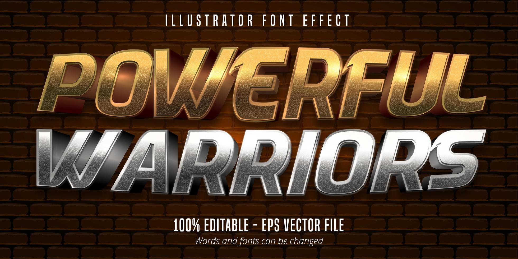 texto de guerreiros poderosos, efeito de fonte editável do estilo metálico ouro e prata 3d vetor