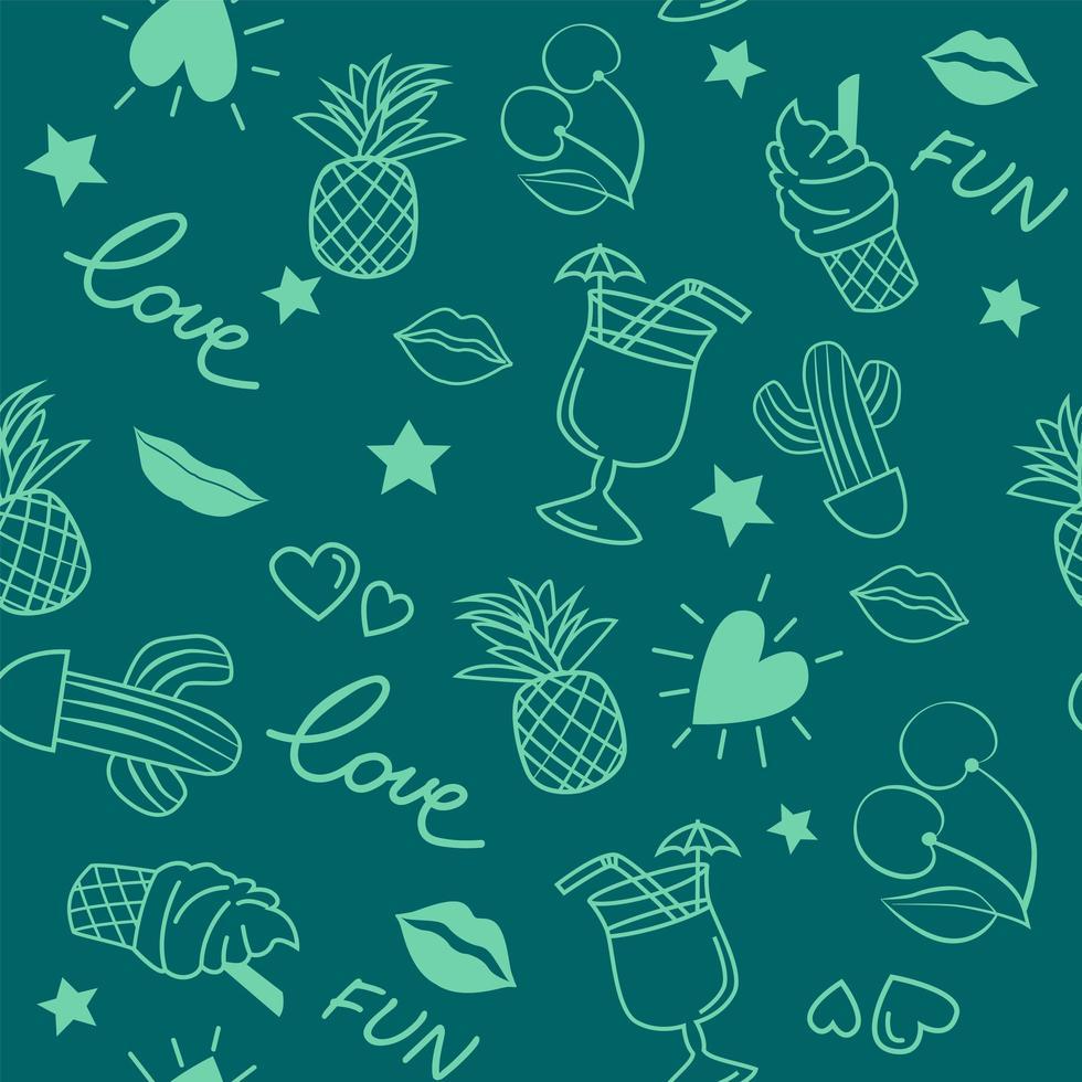 doodle sem costura padrão com elementos de verão vetor