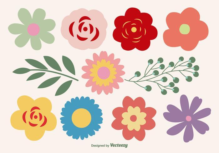 Formas de flores bonitas definidas vetor