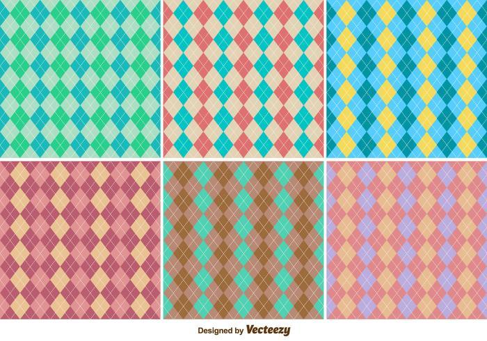 Clássico Seamless Rhombus Argyle Vector Patterns Set