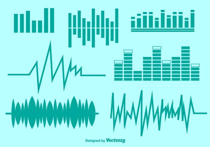 Conjunto de símbolos de áudio vetorial vetor