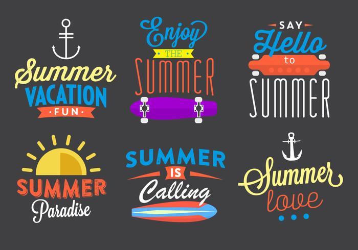 Elementos de vetor tipográfico de verão