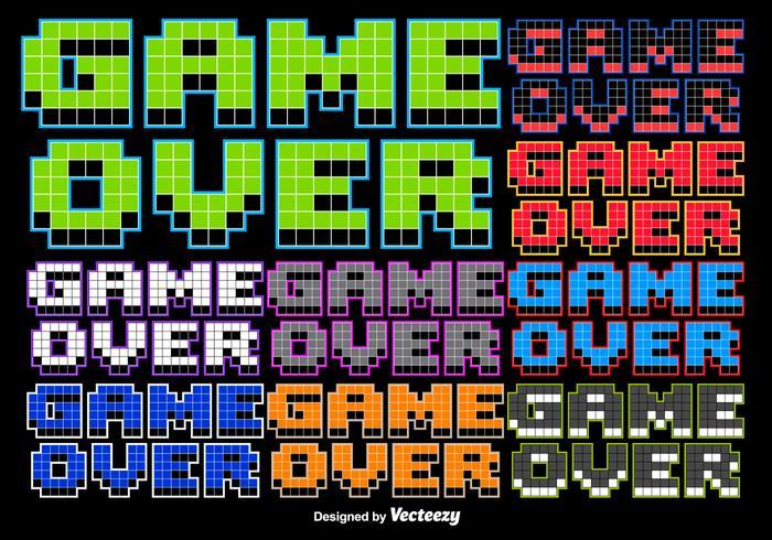 Jogo de 8 bits sobre a mensagem estilizada vetor