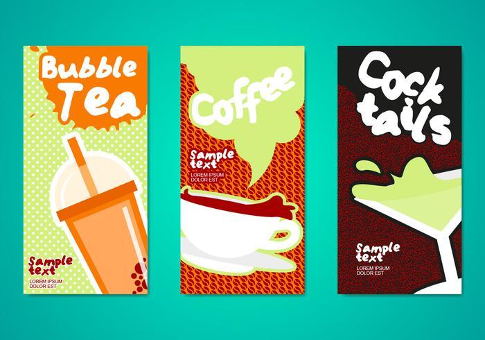 Molde de panfletos para bebidas de chá de bolha vetor