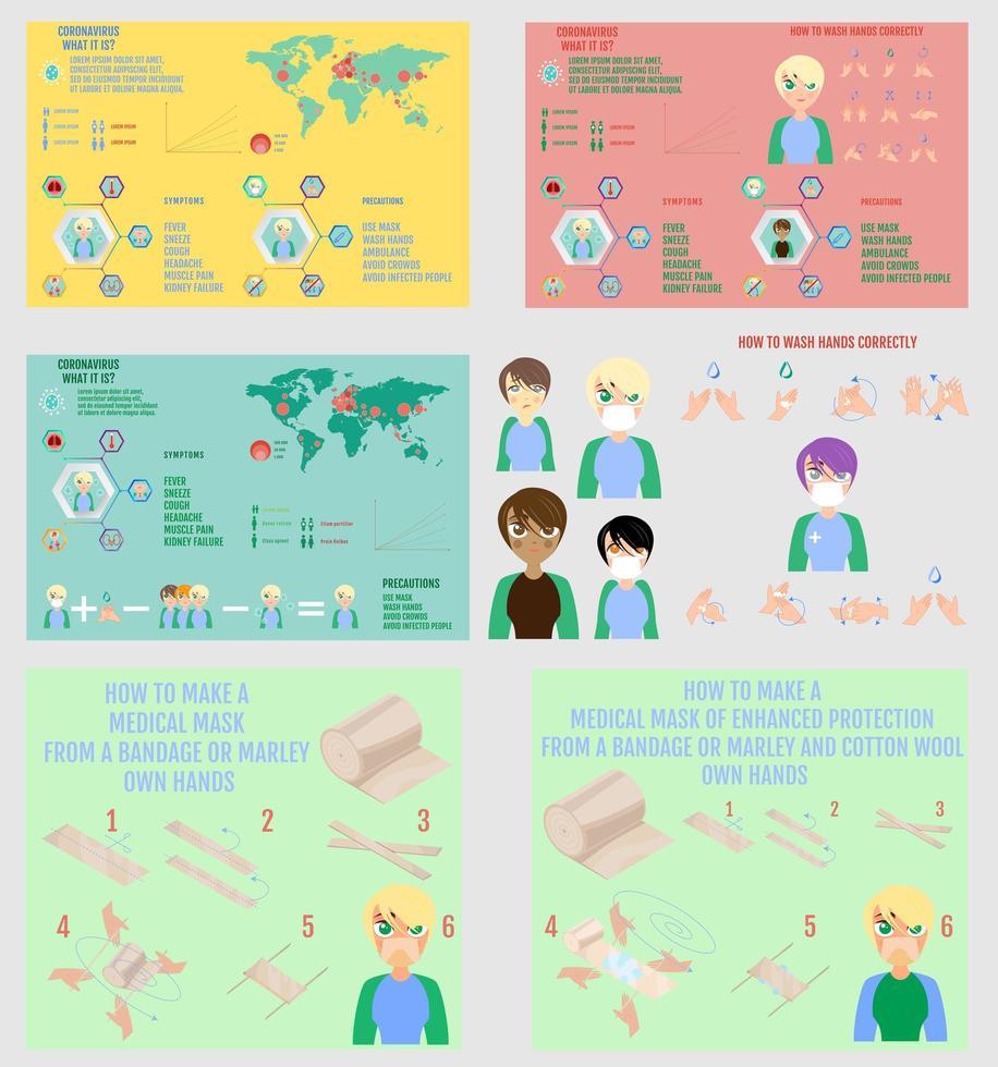 conjunto de infográficos de coronavírus vetor