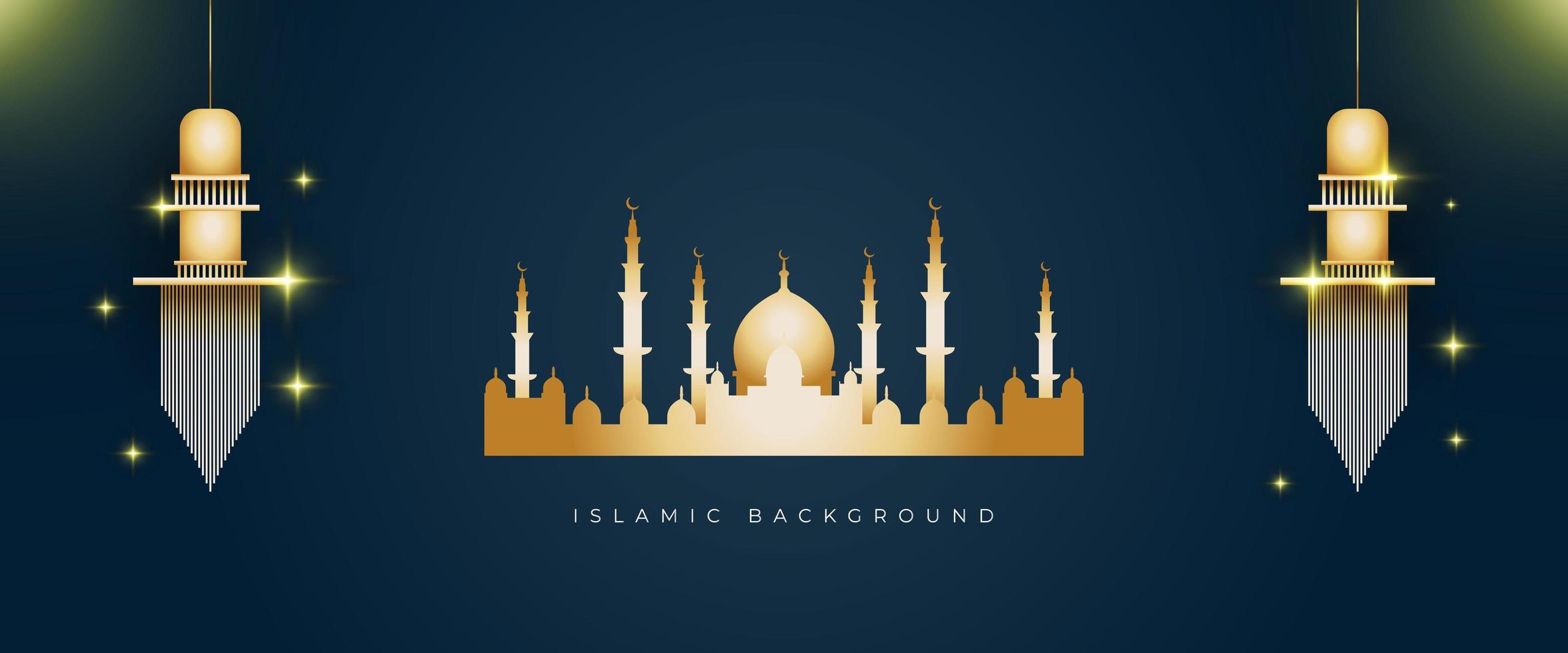 fundo islâmico com cor dourada vetor